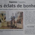 Des éclats de bonheurs (retombée presse dans les Dernières Nouvelles d'Alsace)